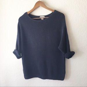 H&M Dolman Sweater Navy Blue S Batwing 3/4 Knit